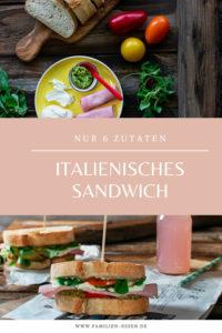 Schnelles italienisches Sandwich mit Mozzarella, Schinken und Pesto
